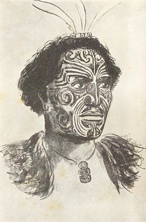 A sketch of Hongi Hika from a 1820's painting. By S. Percy Smith