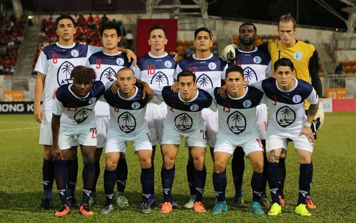Guam line-up before their EAFF Cup match against Hong Kong.