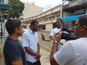 Fiji media speak to,(From Left), Kris Prasad and Ben Daveta, recent complainants against FBC ceo Riyaz Saiyad-Khaiyum.