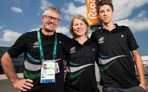 Mark Elliott and road cyclists Linda Villumsen and George Bennett at the Rio Oympics.