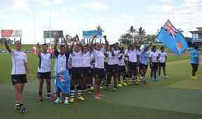 The Fijiana 15s celebrate winning the Oceania Women's Championship.
