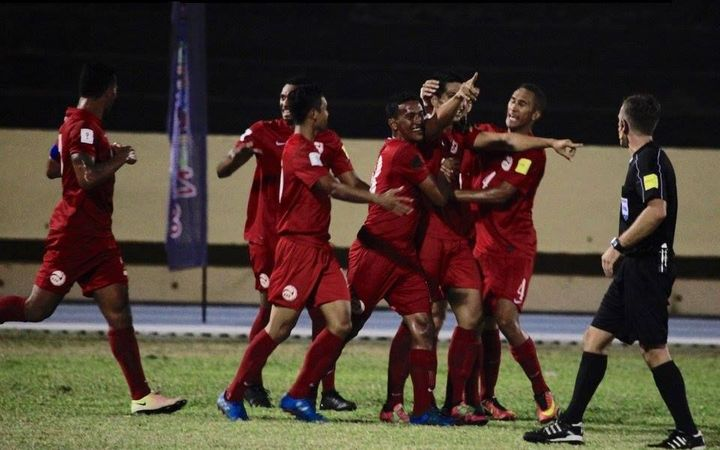 Tahiti celebrate Tauhiti Keck's match-winner against Solomon Islands.