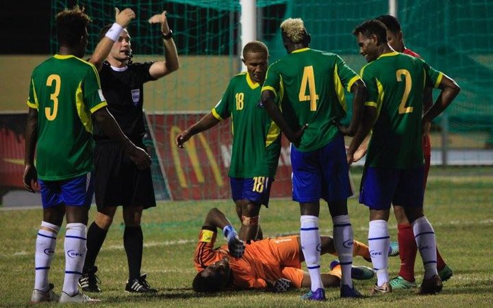 Solomon Islands goalkeeper Philip Mango was injured during the match.