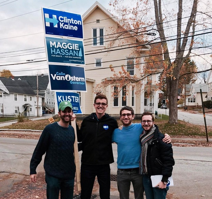 Former Aucklander Andrew Row (second from left) with other Havard Law School Democrats in Concord, New Hampshire.