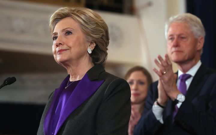 Hillary Clinton accompanied by her husband, former President Bill Clinton, concedes the election.