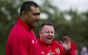 Tonga coach Toutai Kefu and assistant coach Matt O'Connor.