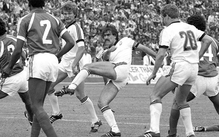 Ricki Herbert, Steve Sumner and Grant Turner play Saudi Arabia, 1981, in qualification for 1982 Wold Cup.
