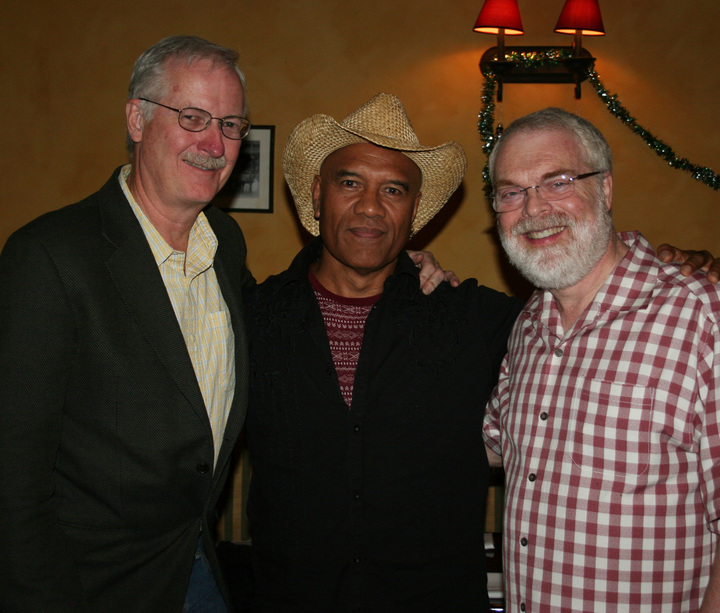 Te Vaka bandleader with Moana directors John Musker and Ron Clements.