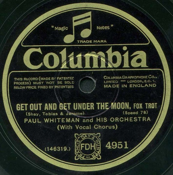Label of 1928 issue of a U.S. Columbia recording by Paul Whiteman on British Columbia
