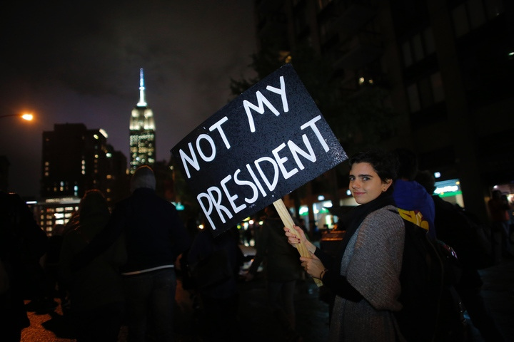 An anti-Trump protester in New York City.