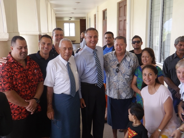 Samoa Police Commissioner, Fuiavailili Egon Keil, with family and supporters.