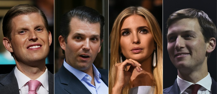 Mr Trump's children, from left, Eric Trump, Donald Trump Jr, Ivanka Trump, and her husband Jared Kushner, are on the transition team's executive committee.