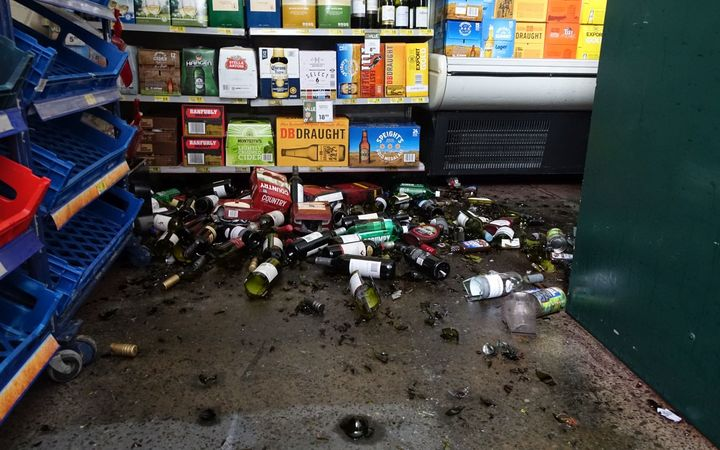 The quake threw groceries off shelves and broke wine bottles at the Culverden 4 Square store.