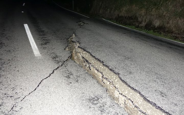 Cracks on the road near Rotherham, North Canterbury.