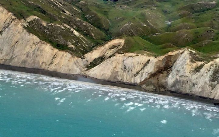 A fresh landslide on north east coast of South Island.