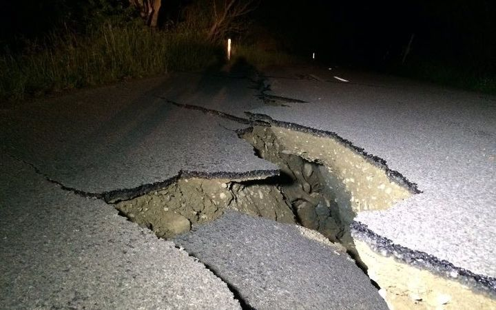 Leader Road in Kaikoura was heavily damaged.