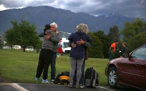 A family reunites after the shakes in Kaikoura.
