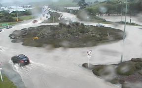 Flooding on SH1 north of Plimmerton this morning.