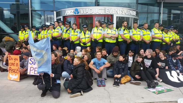 The blockade at the weapons conference in Auckland.