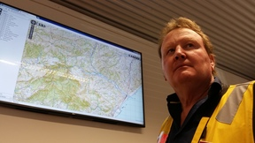 Marlborough civil defence controller Richard McNamara with a map of the Ure River area.