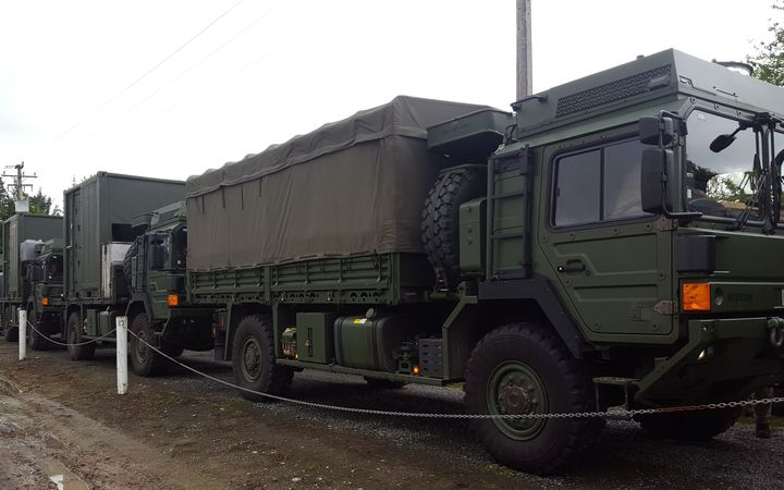 Army trucks with supplies stuck in Culverden.