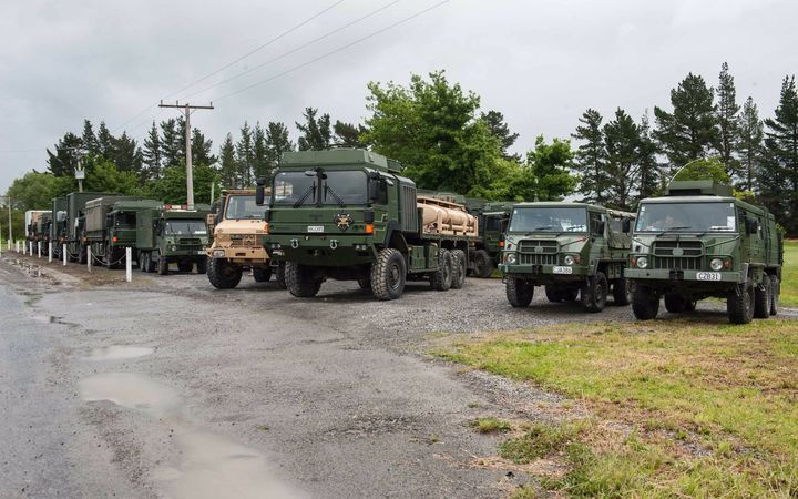 The New Zealand Defence Force trucks carrying supplies for Kaikoura were unable to get further than Culverden.