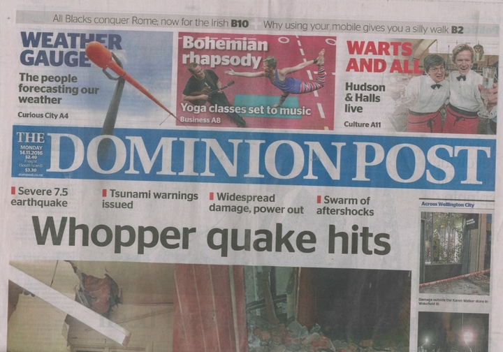 Monday's Dominion Post front page.
