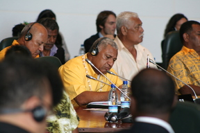 Fiji prime minister Frank Bainimarama listens to a speech at the plenary session of the Melanesian Spearhead Group leaders summit in Noumea in 2013.