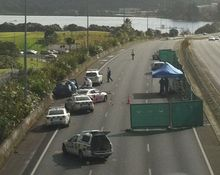The pursuit ended on this part of the Auckland motorway.