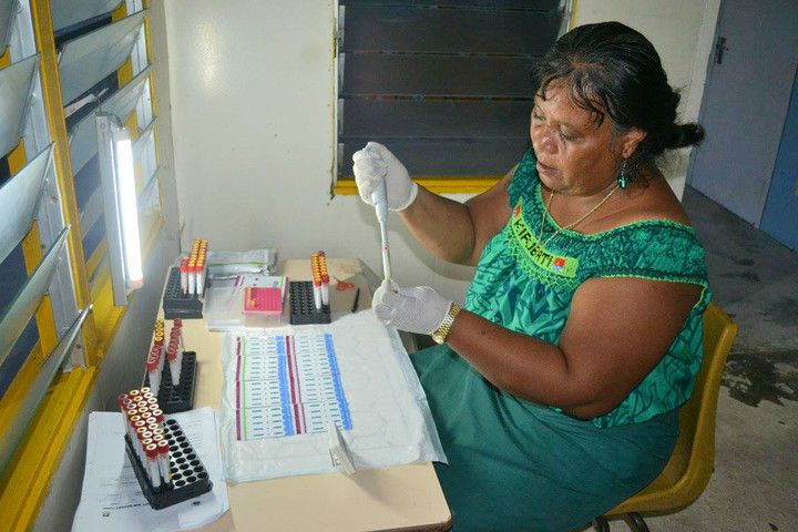 Kiribati Family Health Association Lab Technician on Abemama Island