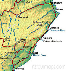 Kaikoura area map