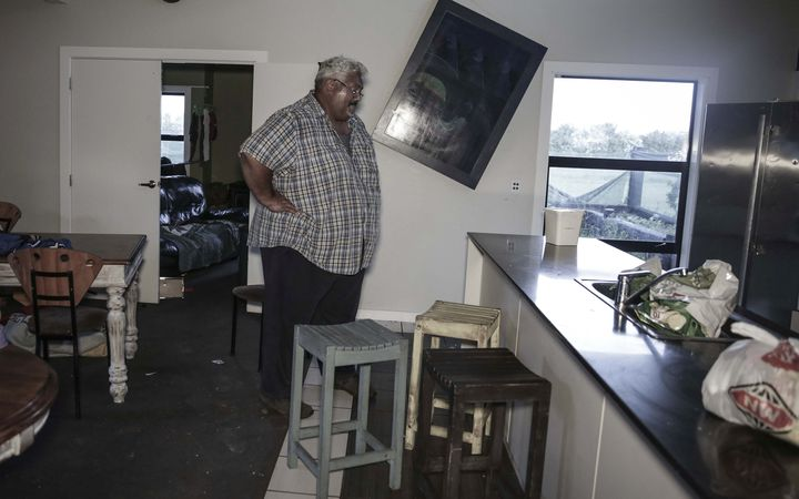 Mark Solomon in his wrecked home near Kaikoura