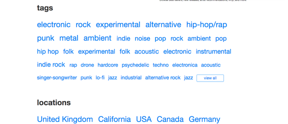 A small sample of Bandcamp's genre tags