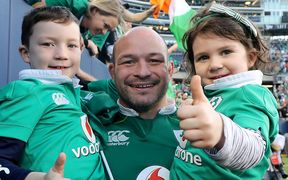 The Ireland captain Rory Best and his children.