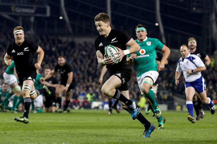 All Blacks player Beauden Barrett smiles on his way to scoring a try against Ireland in Dublin. 20/11/2016