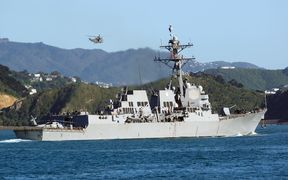 US Destroyer the USS Sampson sails into Wellington harbour after helping in relief efforts for Kaikoura after the earthquake.