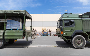 A group of New Zealand army troops have arrived in Kaikoura to deliver supplies to the local New World.