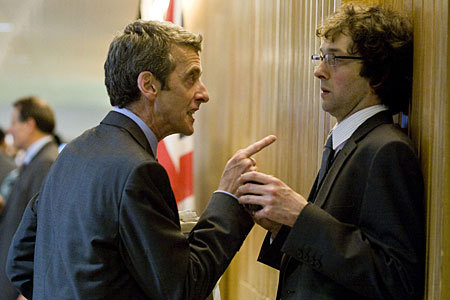 Malcolm Tucker cornering a colleague, in the TV show, The Thick of It