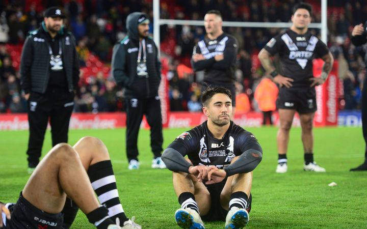 Shaun Johnson and other Kiwis after Four Nations loss to Australia 2016.