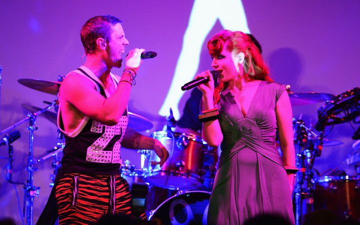Ana Matronic and Jake Shears of the band Scissor Sisters perform in New York in 2012.