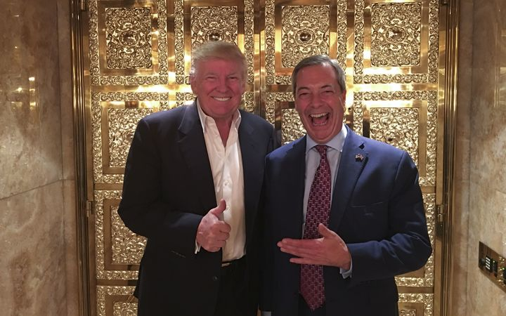 UKIP leader Nigel Farage (r) poses with US President-elect Donald Trump during their meeting at Trump Tower in New York earlier this month.