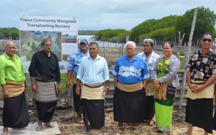 Members of some of the Community Management Committee (made up of representatives from 26 surrounding villages) visiting mangrove replanting sites on the Fanga'uta Lagoon Catchment.