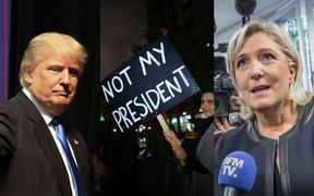 US President-elect Donald Trump, a protester in New York, French National Front leader Marine Le Pen.