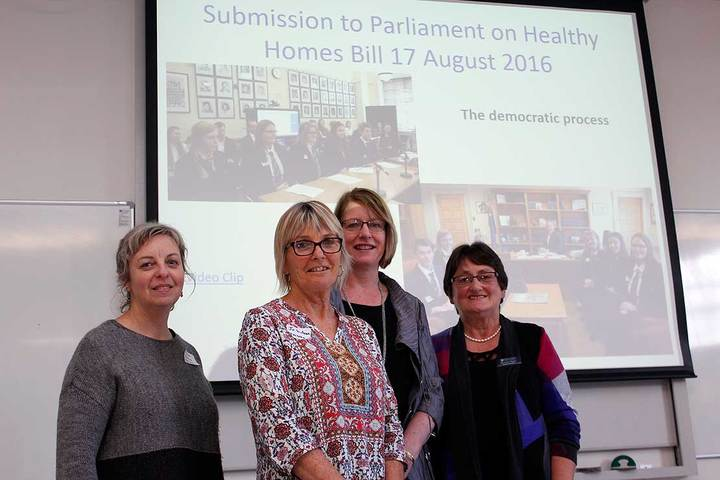 Social studies education researchers Caroline Wallis, Jo Wilson, Rose Atkins and Rowena Taylor at the teachers' workshop
