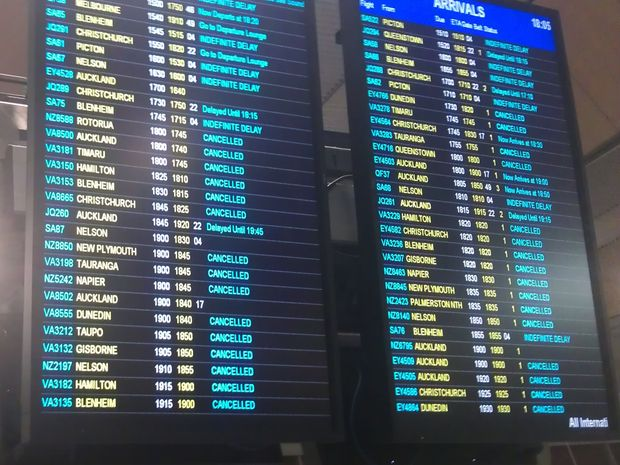 Wellington Airport's flight information board.