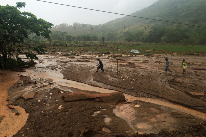 Torrential rain in New Caledonia caused widespread destruction on the main island's east coast.