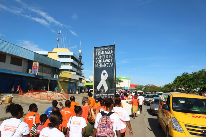 Solomon Islanders mark White Ribbon Day in Honiara on Friday 25th November, 2016. This year was the first time local businesses joined the march in support of ending violence against women.