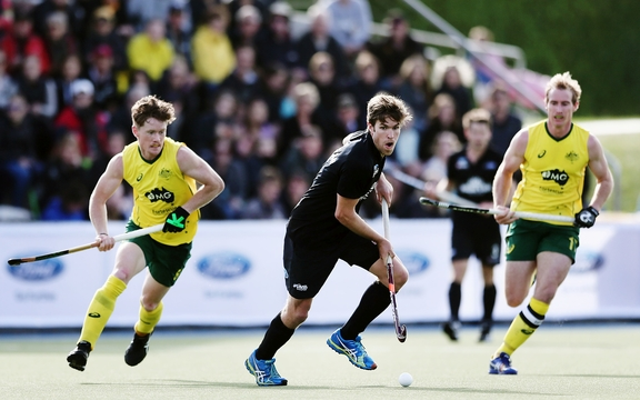 Black Sticks striker James Coughlan in action against Australia