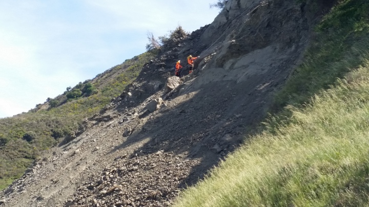 State Highway 1 landslide Kaikoura