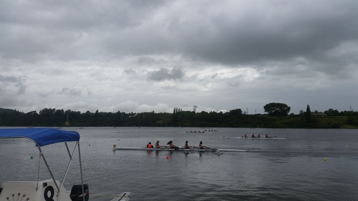 Teen rowers on Lake Karapiro